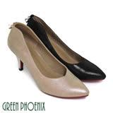 【GREEN PHOENIX】極簡素面光澤感金屬U型水鑽全真皮尖頭高跟鞋