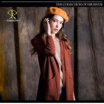 玄太-純色雙口袋造型罩衫(褐)