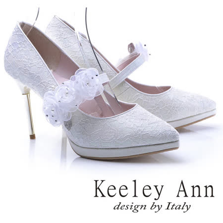 Keeley Ann甜蜜蕾絲-珍珠水鑽玫瑰可拆式腳背帶新娘高跟鞋(白色785158440)