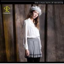 玄太-格紋壓褶造型舒適短褲(灰)