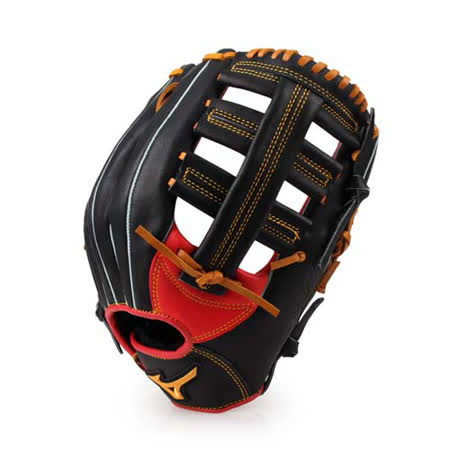 MIZUNO 壘球手套-棒壘 雙十字 外野手用 右投用 專用進階款 美津濃 黑橘紅 F