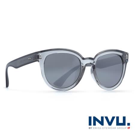 INVU瑞士 新一代九層強化偏光鏡片果凍透明圓框水銀太陽眼鏡 - (灰) T2810A