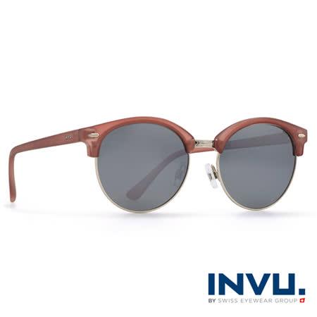 INVU瑞士 新一代九層強化偏光鏡片經典上眉圓框水銀太陽眼鏡 - (霧棕) T1805C