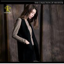 玄太-簡約雙口袋背心罩衫(黑)