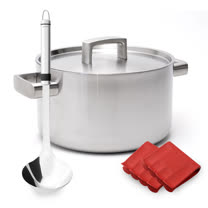 BergHOFF 培高福 Ron羅恩五層湯鍋24CM(6.1L)+不銹鋼湯杓+隔熱手套