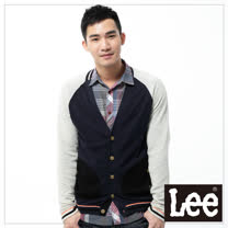 針織外套 拉克蘭袖色塊拼接 -男款(深藍)