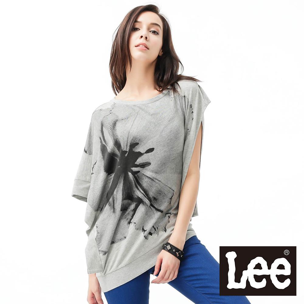 Lee 短袖T恤 長版不對襯印花-女款(麻花灰)