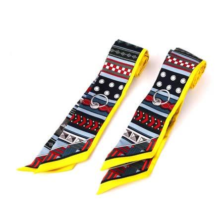 【HERMES】手環造型提把專用絲巾Twilly(一對)(黃色)