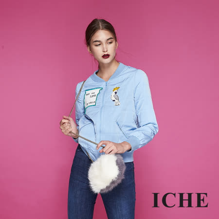 ICHE衣哲 時尚印花拼貼鋪棉棒球造型外套-藍