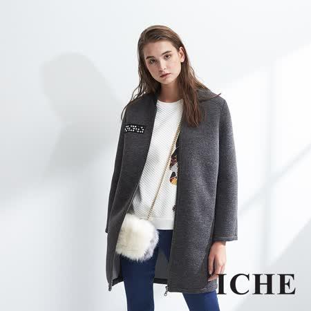ICHE衣哲 時尚鉚釘拼貼羊毛長版棒球造型大衣外套-灰