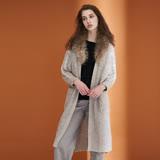 ICHE衣哲 時尚毛領長版針織毛衣外罩外套(兩色)-駝