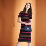ICHE衣哲 時尚撞色條紋印花鑲飾羊毛及膝顯瘦造型洋裝-咖