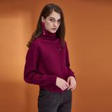 ICHE衣哲 高領短版後綁蝴蝶結設計羊毛針織毛衣上衣(兩色)-紫