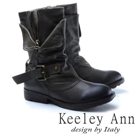 Keeley Ann狂野牛仔-個性環釦拉鍊層次真皮低跟中筒靴(綠色787138502)