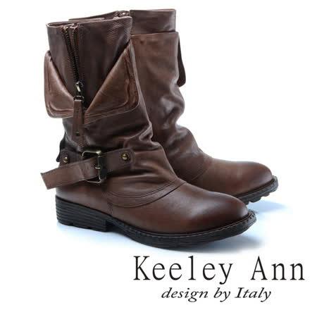 Keeley Ann狂野牛仔-個性環釦拉鍊層次真皮低跟中筒靴(駱駝色787138520)