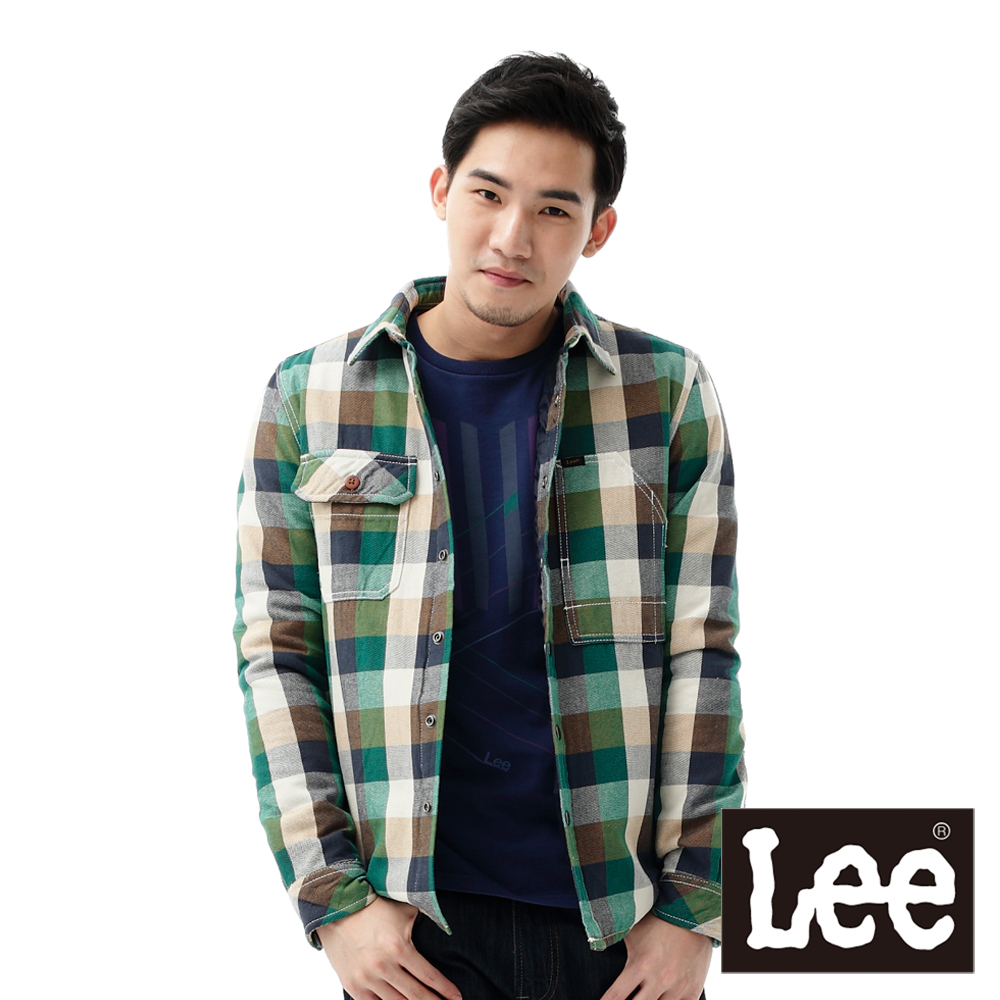 Lee 襯衫外套 法蘭絨格紋斜紋布鋪棉內裡-男款(綠)