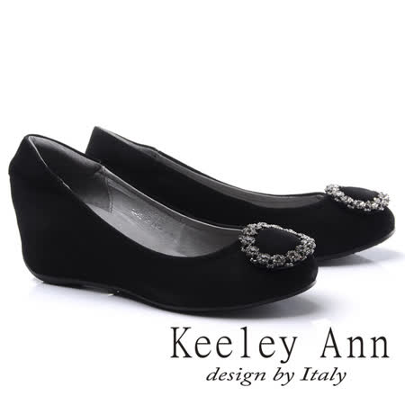 Keeley Ann華麗鑽飾圓型釦環內增高全真皮楔形鞋(黑色775567210-Ann系列)