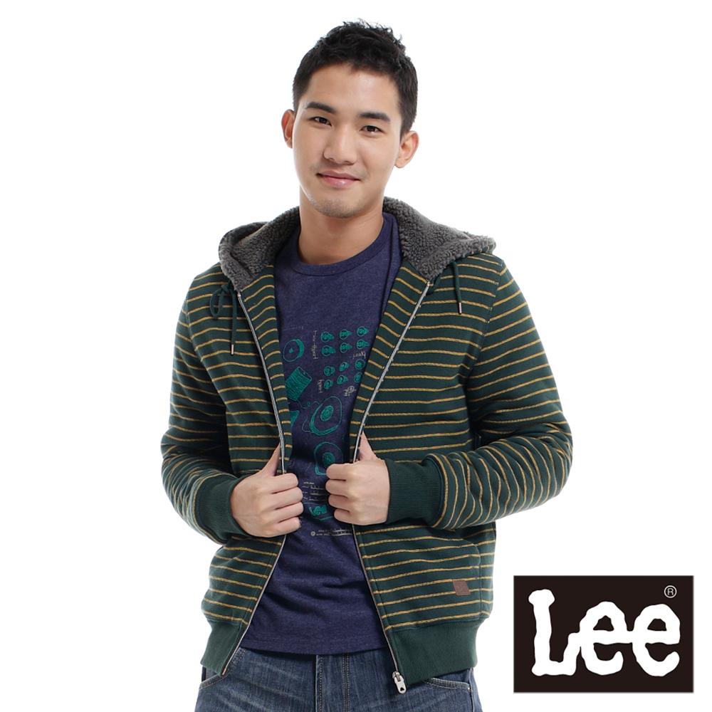Lee 厚T外套 絨毛內裡連帽拉鍊條紋-男款(綠)