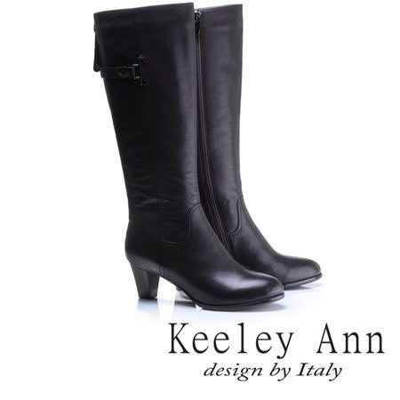 Keeley Ann經典百搭-環帶飾釦真皮中跟長靴(咖啡色789313270)