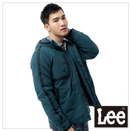 Lee 羽絨外套 連帽連身防風鋪棉 -男款(藍綠)