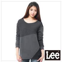Lee 長袖厚T 棉布綢緞拼接 -女款(黑灰)