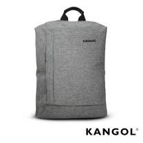 KANGOL 韓國IT男爵系列-金屬釦抓皺設計防潑水男女休閒機能後背包-混織灰