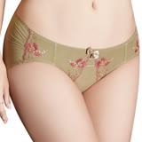 【思薇爾】戀戀金紗系列M-XL刺繡蕾絲低腰三角內褲(鉻金綠)