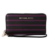 MICHAEL KORS  Jet Set 銀logo皮革條紋拉鍊手拿零錢包(黑紫)