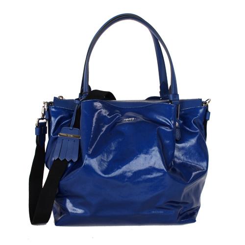 TODS 漆亮皮革FLOWER BAG手提斜背包 亮藍 大
