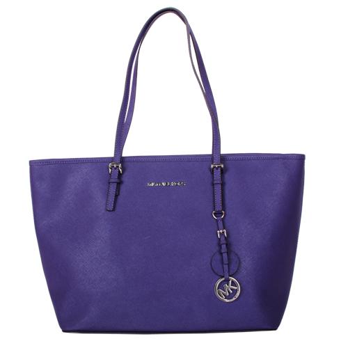 MICHAEL KORS 銀LOGO吊飾拉鍊防刮購物包(紫)