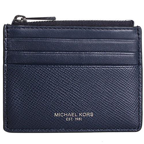 MICHAEL KORS- 防刮皮革拉鍊卡夾零錢包(藍)