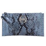 MICHAEL KORS - logo牌蟒蛇紋皮革拉鍊大手拿包/夾藍