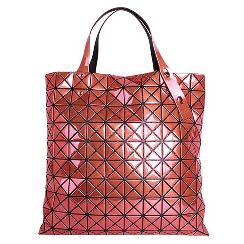 ISSEY MIYAKE - BAOBAO幾何方格10x10手提包(金屬橙紅色)/亮面