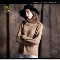 玄太-高領寬鬆造型下擺針織毛衣(卡其)
