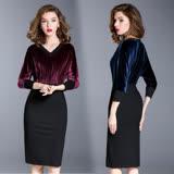 【M2M】V領絲絨質感拼接包臀洋裝(共二色)S~XL