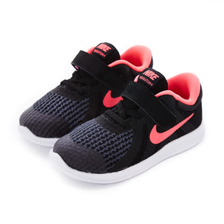 NIKE 童鞋 慢跑鞋 NIKE REVOLUTION 4 (TDV) 黑桃紅-943308004