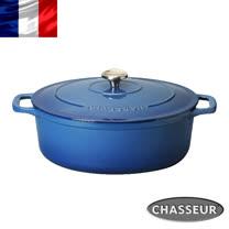 法國【CHASSEUR】2017新品 獵人琺瑯鑄鐵橢圓彩鍋29cm(希臘藍)