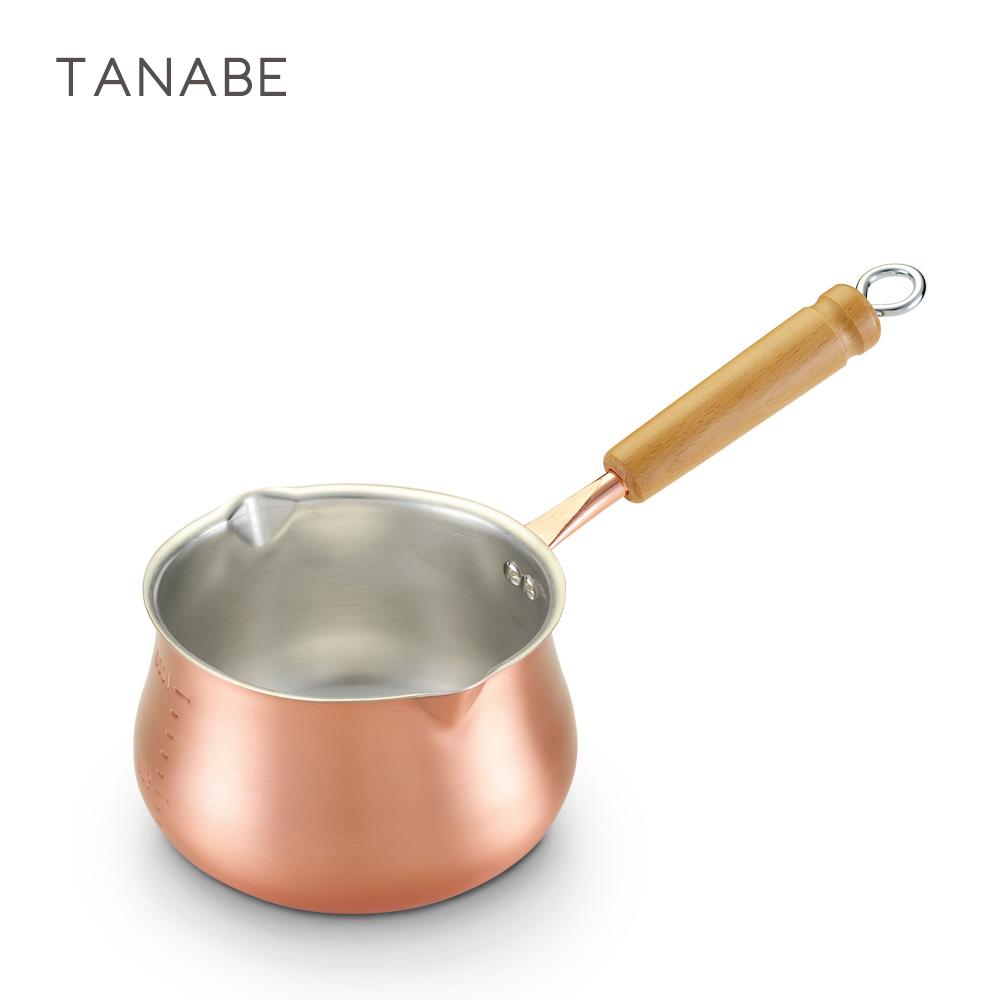 日本田邊金具 木柄牛奶銅鍋14cm