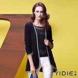 【YIDIE衣蝶】女孩圖案側邊條紋棉質外套