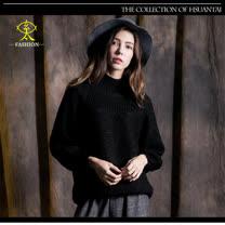 玄太-高領寬鬆造型織紋針織毛衣(黑)