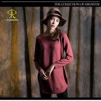 玄太-圓領修身菱格紋針織毛衣(紅)