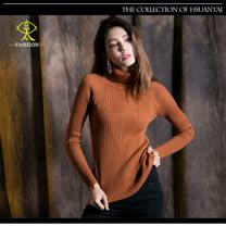 玄太-舒適高領特色織紋針織毛衣(駝)