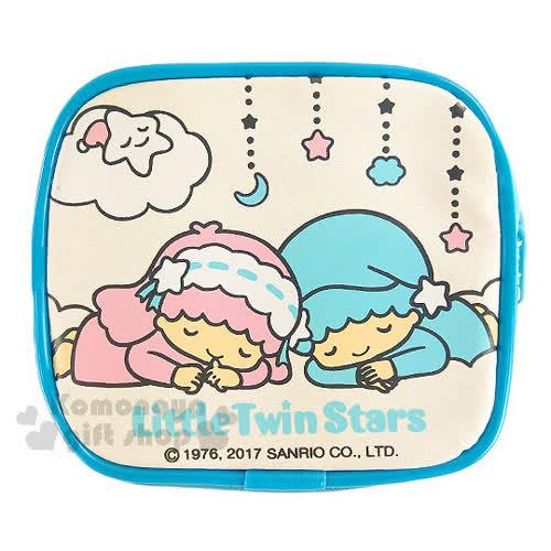 〔小禮堂〕雙子星 拉鍊方形零錢包~藍.白.星星.月亮.雲.睡覺~