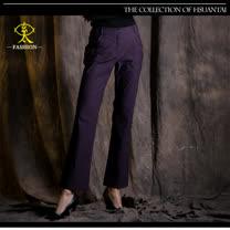 玄太-摩登純色舒適長褲(紫/黑)