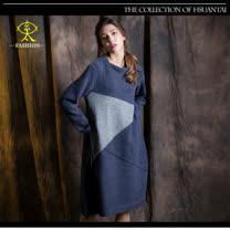 玄太-摩登寬鬆配色長版上衣(藍)