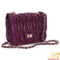MOROM  真皮品牌訂製經典款皺褶鍊帶包(紫色)1625