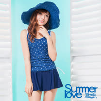 【夏之戀SUMMERLOVE】長版二件式蔚藍海軍風泳衣(S17719)