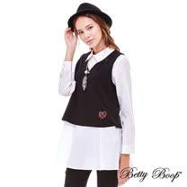 【Betty Boop】貼布V領背心兩件式長版上衣(白色)