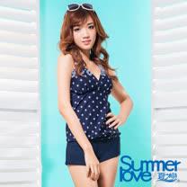 【夏之戀SUMMERLOVE】大女長版V領印花三件式泳衣S17729