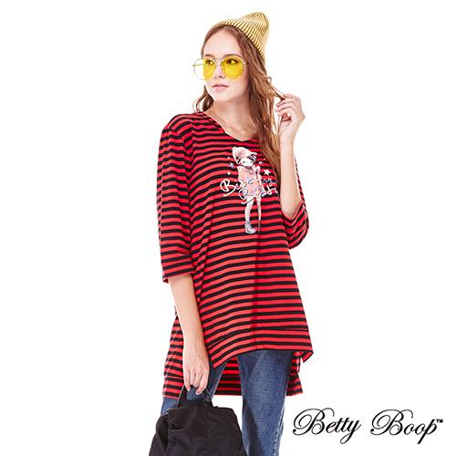 【Betty Boop】貝蒂印圖條紋開衩連帽長版上衣(黑白色)